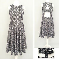 Next TALL Dress 14 Navy Blue White Midi Summer Formal Party Lace Floral Wedding