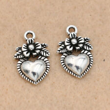 10pcs Antique Silver Rose Flower Charm for Jewelry Making Bracelet Accessories