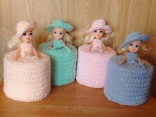 1 TOILET ROLL, DOLLS COVER, CROCHET ASS PASTEL  OR BRIGHT COLOURS