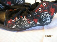 Streetwear type tennis shoes mens 7 Zombie ankle high black-white-red B6