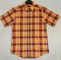 MARMOT For Life Polyester Orange Plaid Button Front Shirt Sz Small