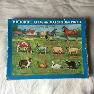 VICTORY FARM ANIMAL SPELLING PUZZLE Wooden Jigsaw Puzzle 60 Piece RARE Vintage