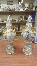 """PAIR OF VINTAGE PORCELAIN PALACE PORTRAIT FLOWER VASES DRESDEN STYLE 58"""" TALL"""