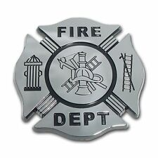 Firefighter Black and Chrome Car Auto Truck Emblem (NEW)