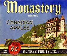 Kelowna Monastery Canada BC Canadian Apples Apple Fruit Crate Label Art Print