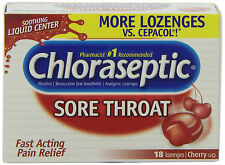 CHLORASEPTIC SORE THROAT LOZENGE Box of 18 Cherry Cold