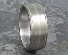 Titanium White Gold Inlay Mens Wedding Band Custom Made Ring to ANY Sizing 3-22