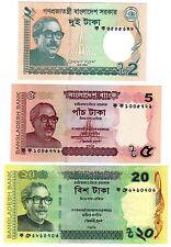 LOT  SET SERIE 3 Billets BANGLADESH TAKA 2011 - 2012  UNC NEUF