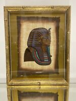 Framed EGYPTIAN Hand Painted PAPYRUS King Tut