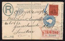 BRITISH COLONIES&TERRITORIES 1902 Postal Stationery from Trinidad to London(CI1)