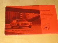 Preisliste  Mercedes  PKW Nr.14 - 1974  - R 107 / W 116 -  W 114 / 115