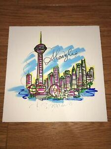 CHARLES FAZZINO Shanghai CHINA The Bund Hand Pop Art ONE OF KIND RARE 12x12 *