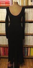 CATHERINE MALANDRINO dress S UK 8-10 US 4-6 black crochet maxi full long 1970s