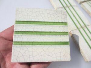 """Vintage Ceramic Tiles Architectural Antique Green Stripes Tile x12 Old 3"""""""