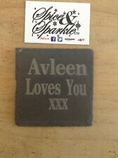 Personal Laser Engraved Slate Coasters Gift Any Name Or Message TrustedUk Seller