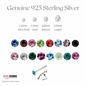 925 Sterling Silver Crystal Nose Studs Bend To Fit 1.2mm-2.5mm - Value Packs ...