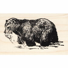 Fishing Bear Beeswax Rubber Stamp Mounted Animals Wildlife Scenic Stamping