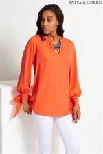 Anita & Green Tie Cuff Blouse Orange UK Size 10 Box44 23 C