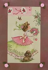VINTAGE GIRL ROSES BOUQUET SPARROW BIRDS COCKER SPANIEL PUPPY COLLAGE ART PRINT