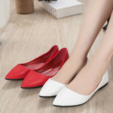 Ladies Pointed Toe Flat Shoes PU Leather Casual Solid Ballet Shallow Pumps Size