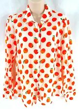 J Crew Perfect Shirt Citrus Orange Silk Cotton Button Down Size 10 Long Sleeve