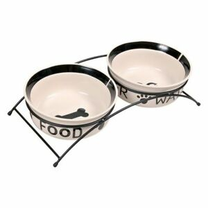 Dog Food and Water Bowl on Stand 2 Painted Ceramic Bowls Metal Stand Anti Slip