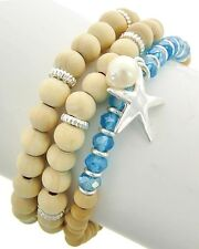 ICON Natural & Blue Beads Silver STARFISH Stretch Bracelet Set of 3 NWT New