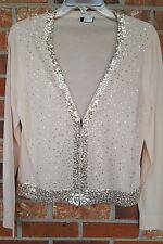 J CREW Size L Merino Wool Blush Pink Zip Up Cardigan Sweater Sequins