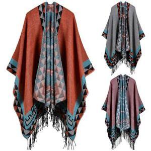 Women Scarf Wrap Bohemian Cape Blanket Winter Poncho Jacket Coat Shawl U0U0