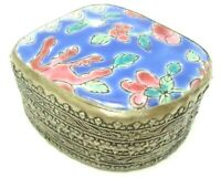 VINTAGE 1960S SILVER PLATE TRINKET BOX CHINESE PORCELAIN SHARD INLAID TOP CHINA