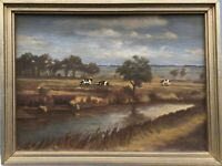Norddeutsche Landschaft mit Kühen Signiert Schleswig Holstein 31,5 x 41,5 cm