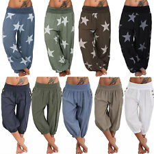 Womens Baggy Harem Pants Hippie Yoga Capri Cropped Loose Comfy Palazzo Trousers