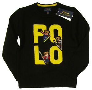Polo Ralph Lauren Boys Black Ski Polo Bear Graphic Crew-Neck Pullover Sweater