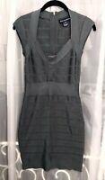 French Connection Spotlight Grey Bodycon Bandage Dress w/ Zip Sz 6 *Fits XS/0/2*