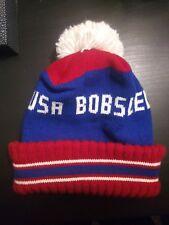 Vintage 1980s Olympics Lederle Usa Bobsled Team Winter Pom Pom Beanie Knit Hat