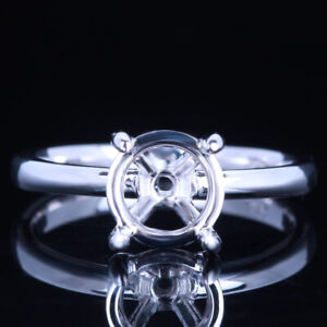 7.5mm Round Sterling Silver 925 Prong Setting Semi Mount Solitaire Women's Ring