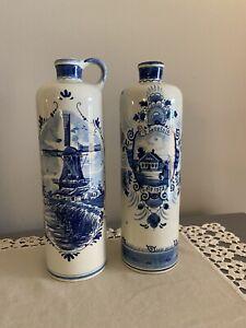 Lot of 2 Delft Blue Holland Bols EMPTY Liquor Decanters Bottles Windmill 10 1/2