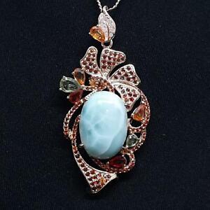 19.00ct Larimar, Multi-Color Sapphire & Garnet 14K Rose Gold 925 Silver Necklace