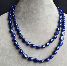 """Genuine 8-9mm Natural Dark Blue Baroque Freshwater Pearl Necklace 30"""" Long"""