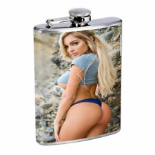 Singapore Pin Up Girls D5 Flask 8oz Stainless Steel Hip Drinking Whiskey
