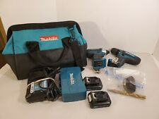 """Makita 12V FD05 3/8"""" Drill/Driver & DT03 Impact Driver Kit 2 Batteries Charger"""