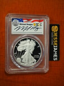 2021 W PROOF SILVER EAGLE PCGS PR70 DCAM TYPE 1 FIRST DAY ISSUE MICHAEL REAGAN