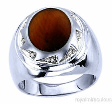 Mens Tiger's Eye and Diamond Ring 14K Gold