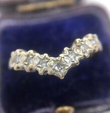 Pretty Vintage Yellow Gold V Shaped Diamond Half Eternity Band Ring