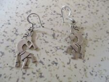For Pierced Ears, Fertility God Kokopelli Dangle Earrings With Feathers,