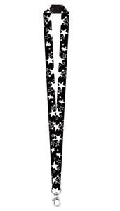 STAR LANYARD Key chain Neck strap ID Holder Breakaway clasp BLACK & WHITE Stars