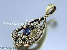 Sapphire Pendant Yellow Gold 9k Vintage & Antique Jewellery