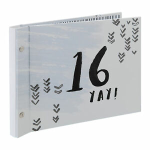 Grey 16th Birthday Guest Book With Photo Album Gift boxed Luxe by Hotchpotch