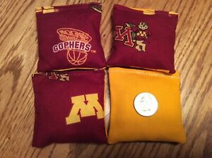 "4 U Of M Gophers ( Gold Back)  Mini cornhole, bean bags, 3"" X 3"" double stitched"