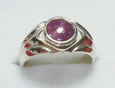 4.21 CT NATURAL 6 RAY RED STAR 5 RATTI 92.5 SILVER BEAUTIFUL SIZABLE ASTRO RING